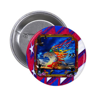 Good Hunting Eagle Sky background clear edge Pinback Button