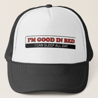 good in bed funny text humor message trucker hat