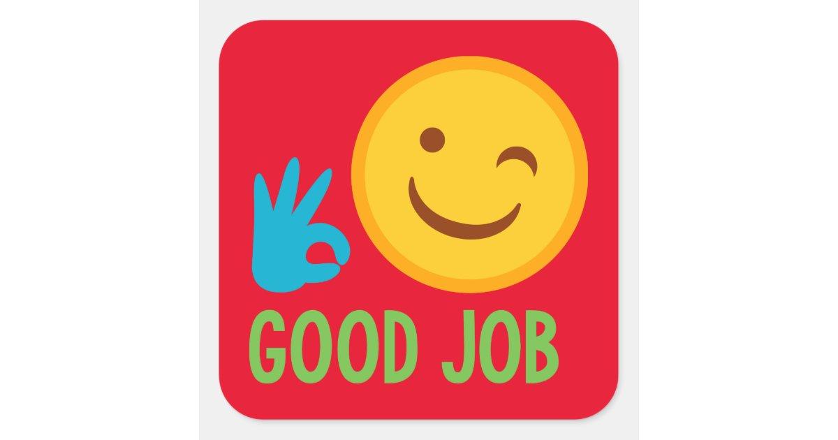 Good Job Emoji Square Sticker Zazzle Com