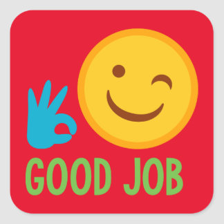 Good Job Emoji Square Sticker