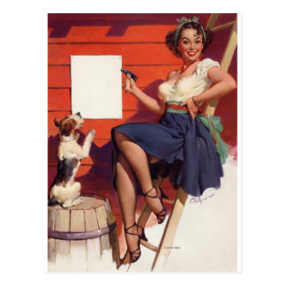 Good Job Pin Up Postcard