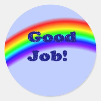 Good Job Rainbow Sticker, small Classic Round Sticker