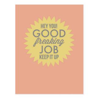 Good Job Yellow & Pink Fun Humour Encouragement Postcard