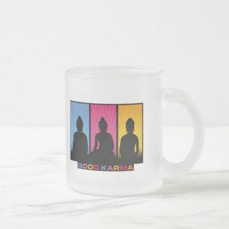 Good Karma Buddhas Frosted Glass Coffee Mug