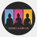Good Karma Buddhas Round Stickers