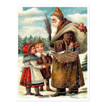 Good kids meet Santa Claus with gifts, vintage Postcard