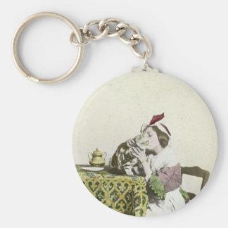Good Kitty Tea Time Vintage Victorian Tea Party Basic Round Button Keychain