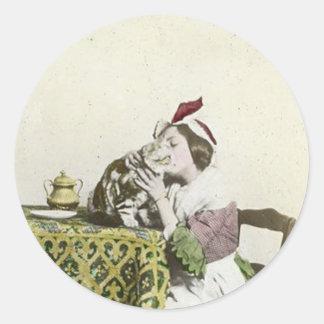 Good Kitty Tea Time Vintage Victorian Tea Party Classic Round Sticker