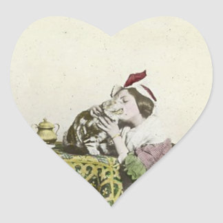 Good Kitty Tea Time Vintage Victorian Tea Party Heart Sticker