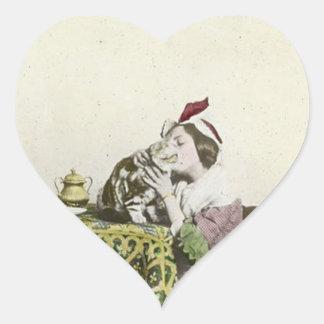 Good Kitty Tea Time Vintage Victorian Tea Party Heart Sticker