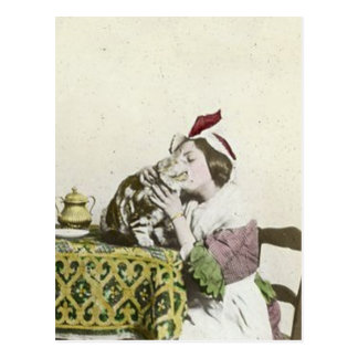 Good Kitty Tea Time Vintage Victorian Tea Party Postcard