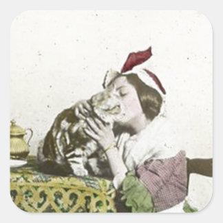 Good Kitty Tea Time Vintage Victorian Tea Party Square Sticker