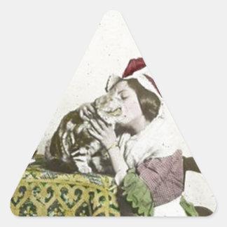 Good Kitty Tea Time Vintage Victorian Tea Party Triangle Sticker