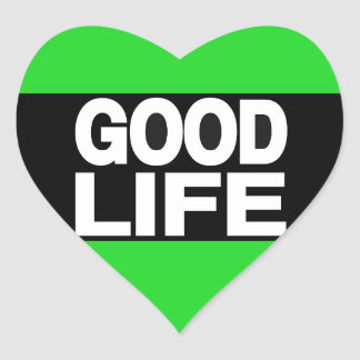 Good Life Long Green Heart Sticker