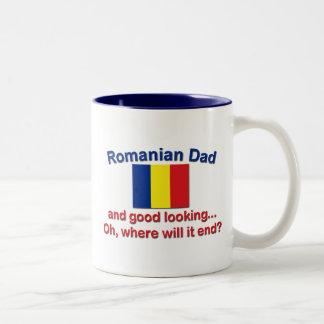Good Lkg Romanian Dad Two-Tone Coffee Mug