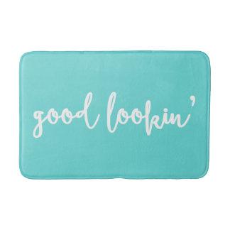 Good Lookin' Calligraphy | Tiffany Blue Bath Mat