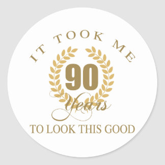 Good Looking 90th Birthday Classic Round Sticker