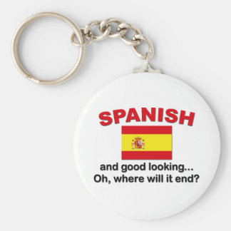 Good Looking and Spanish Basic Round Button Keychain