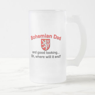 Good Looking Bohemian Dad Frosted Glass Beer Mug