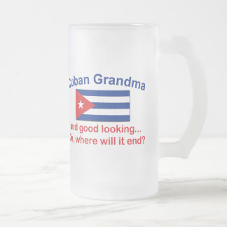 Good Looking Cuban Grandma Frosted Glass Beer Mug