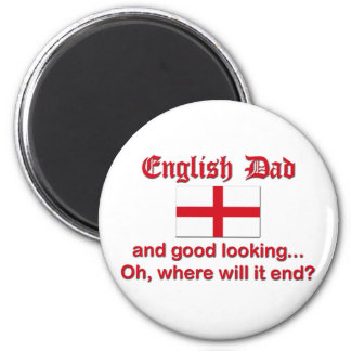 Good Looking English Dad 2 Inch Round Magnet