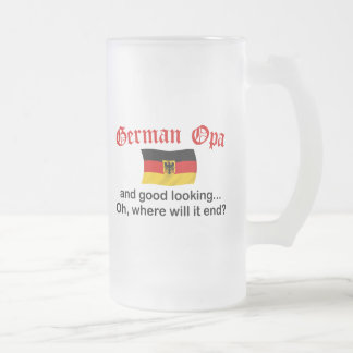 Good Looking German Opa Frosted Glass Beer Mug