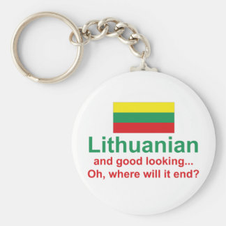 Good Looking Lithuanian Basic Round Button Keychain