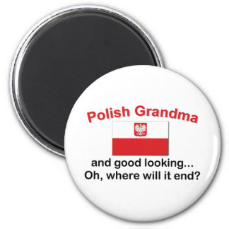 Good Looking Polish Grandma 2 Inch Round Magnet