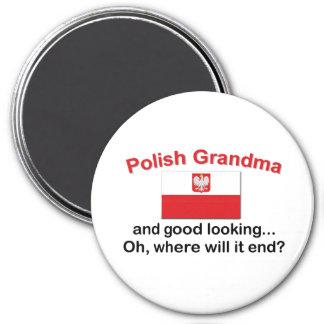 Good Looking Polish Grandma 3 Inch Round Magnet