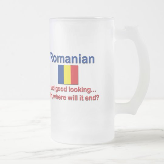 Good Looking Romanian Frosted Glass Beer Mug