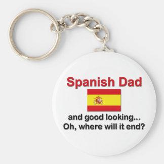 Good Looking Spanish Dad Basic Round Button Keychain