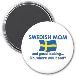 Good Looking Swedish Mom 3 Inch Round Magnet