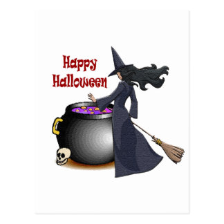 Good Looking Witch and the Cauldron Postcard
