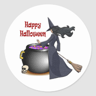 Good Looking Witch and the Cauldron Classic Round Sticker