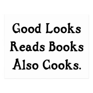 Good Looks Reads Books Also Cooks Postcard