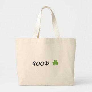 Good Luck 4 leaf clover Emoji Special one Large Tote Bag