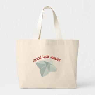 Good Luck Awaits Large Tote Bag