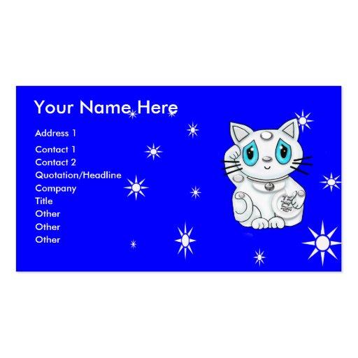 Good Luck Beckoning Cat Maneki Neko Business Card Template