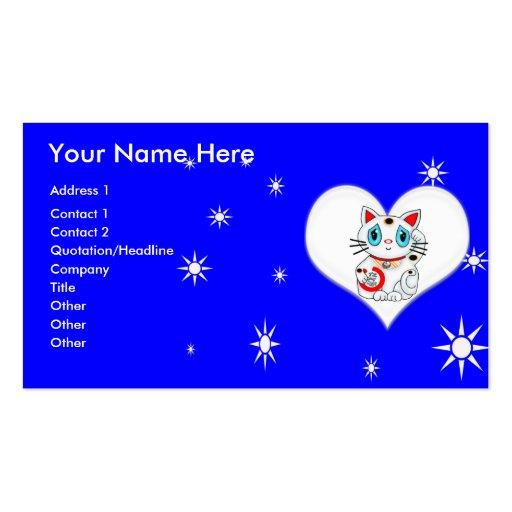 Good Luck Beckoning Cat Maneki Neko Business Card Templates