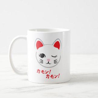 good-luck beckoning cat classic white coffee mug