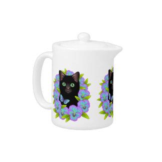 Good Luck Black Cat Magic Floral teapot