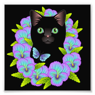 Good Luck Black Cat Mauve Pansy Floral print Photo Print