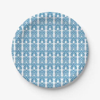 Good Luck Blue Tiki Figures Paper Plate