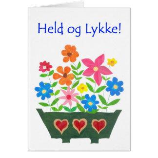 Good Luck Card, Danish Greeting - Flower Power