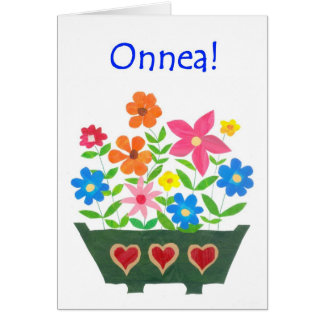 Good Luck Card, Finnish Greeting - Flower Power