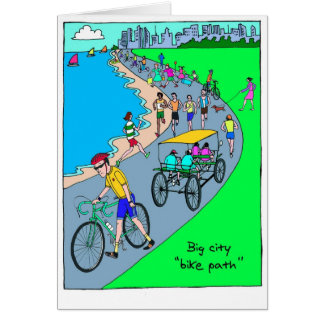 Good Luck Card for Cyclist - Big City Bike Path