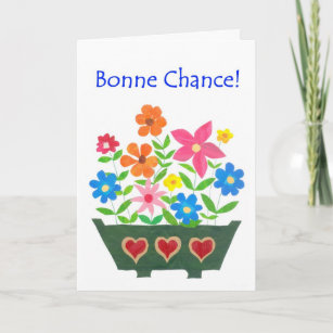 French good luck cards zazzle good luck card french greeting flower power card m4hsunfo