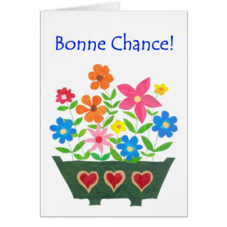 Good Luck Card, French Greeting - Flower Power Card