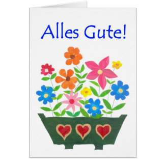 Good Luck Card, German Greeting - Flower Power