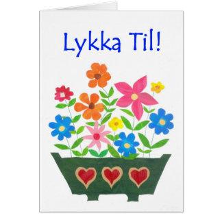 Good Luck Card, Norwegian Greeting - Flower Power